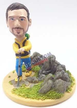 Male hiker custom bobble head doll Premium