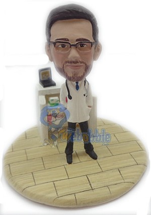 Doctor male with work station custom bobble head doll Premium