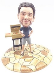 Male at the BBQ custom bobble head doll Premium