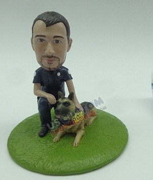Officer and dog globe personalized snow globe