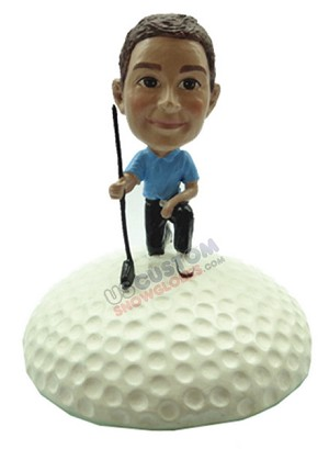Male golfer on one knee with golf ball personalized snow globe