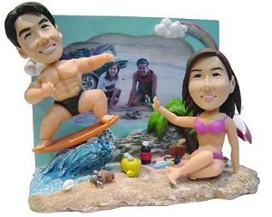 Beach Paradise couple custom bobble head doll