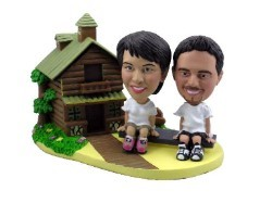 Log Cabin couple custom bobble head doll