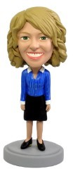 Blue Blouse Office Worker custom bobble head doll