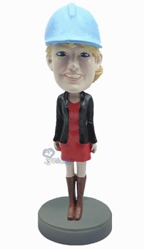 Female wearing short dress and boots custom bobblehead