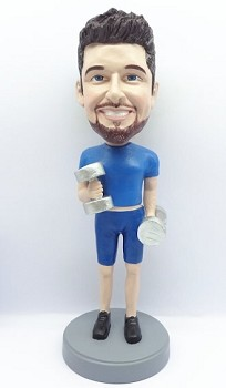Male Weight lifter custom bobble head doll 2