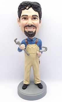 Man Holding Wrenches custom bobble head doll