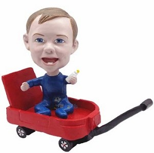 Baby Boy in wagon custom bobble head doll