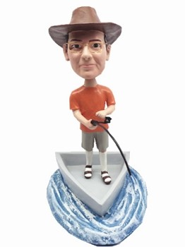Man in boat fishing custom bobble head doll