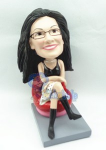 Female Sitting custom bobble head doll