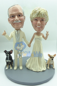 Wedding couple NEW with 2 dogs custom bobble head doll