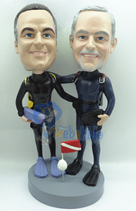 2 men Scuba Figurine custom bobble head doll