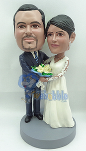 Wedding couple arm in arm custom bobble head doll 3