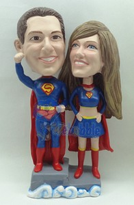 Wedding  couple Super Hero custom bobble head doll