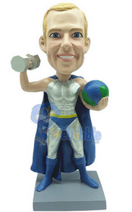Male Super Hero with World and weight custom bobble head doll