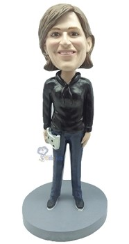 Video Gamer Female custom bobblehead