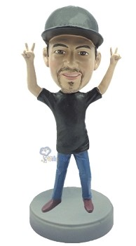 Casual with arms up custom bobble head doll