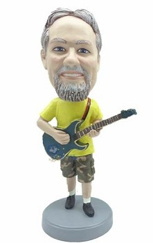 Guitar in shorts and tee shirt custom bobble head doll