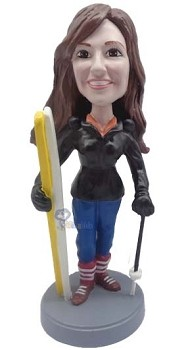 Female Skiing custom bobble head doll 2