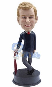 Business Man with Umbrella custom bobble head doll