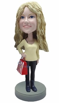Shopping Girl custom bobble head doll 3
