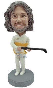 Male playing a guitar wearing fashionable outfit custom bobble head doll