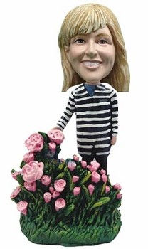 Nice women with flowers personalized bobble head doll2