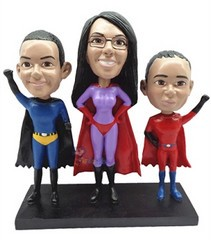 3 Superhero custom bobble head doll