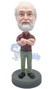 Man with hands crossed 4 custom bobble head doll
