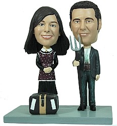 couple with pitchfork / luggage custom bobble head doll