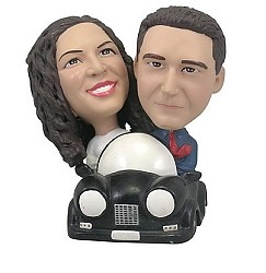 custom couple in Car custom bobble head doll
