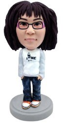 Girl in shirt (Love) and jeans custom bobble head doll