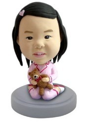 Baby Girl  (with teddy bear) custom bobble head doll