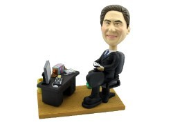 Executive at desk custom bobble head doll