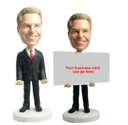 Business card holder - Male 2 personalized bobble head doll