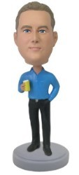 Man holding can custom bobble head doll  1