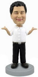 Casual Man with hands up personalized bobblehead