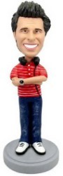 Man with headphones custom bobble head doll