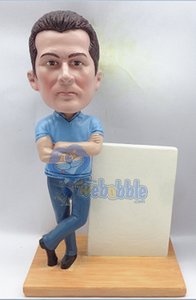 Business man custom bobble head doll with sign Premium