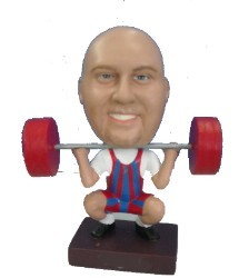 Male Weight lifter custom bobble head doll